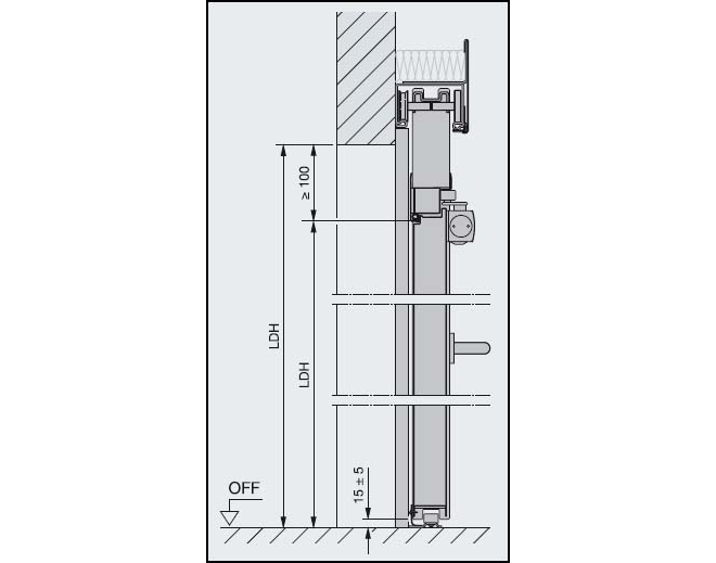 Tür vertikalschnitt  Feuerschutztore T90 Schiebetor